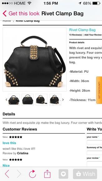 bag tote bag black studs