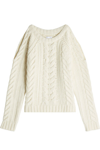 pullover cut-out beige sweater