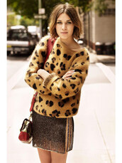 alexa chung,leopard print,brown sweater,angora,oversized,mini skirt,sweater,knitwear,skirt,big pattern