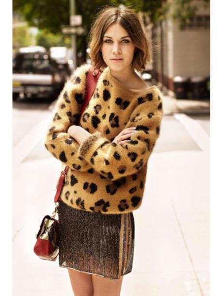 alexa chung mini skirt sweater knitwear leopard print skirt big pattern leopard print angora oversized brown sweater