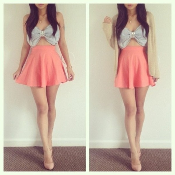 skirt bow shirt