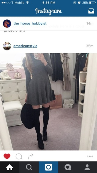 dress grey black heels hat tumblr skirt fall outfits socks shoes