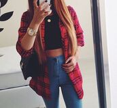 blouse,flannel cardigan,long,cardigan,flannel shirt,flannel,flannel blouse,red,black,streetwear,jeans,jewels,american style,bag,necklace,blue skinny jeans,crop tops,t-shirt,checkered blouse,jewelry,nail polish,light blue,high waisted jeans,High waisted shorts,blue,pants,top,everything,shirt,gloves,hat,home accessory,jacket,tartan,hipster,dress,tights