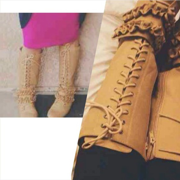 shoes boots combat boots knee high boots tan lace up boots lace up boots tan boots ruffle