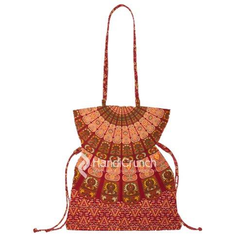 beautiful red & orange mandala bucket bag