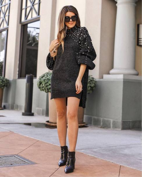 dress tumblr mini dress grey dress sweater sweater dress knit knitted dress embellished embellished dress boots black boots ankle boots sunglasses