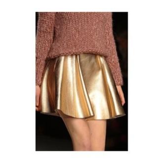 skirt metallic gold pretty skater skirt