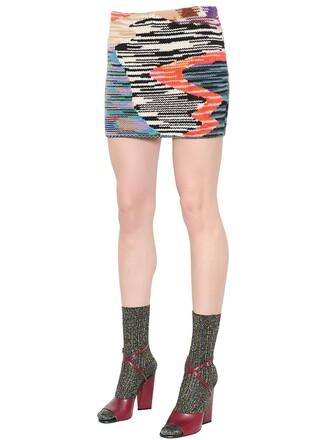 skirt patchwork cool knit wool multicolor
