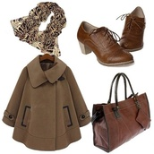 shoes,brown shoes,girly,cute,classic,brown,lace up,scarf,animal printed,brown leather bag,jacket,coat,a-line,a-line coat,zebra prited,chestnut,boots,booties,ankle boots,combat boots,lovely,fa,zebra scarf