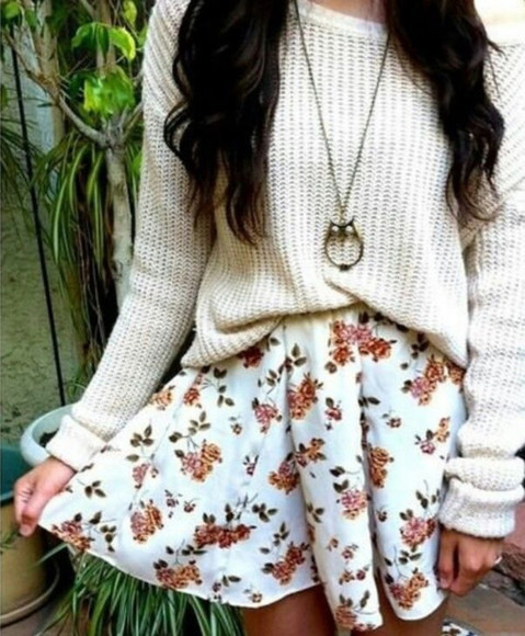 floral skirt white floral skirt skirt clothes