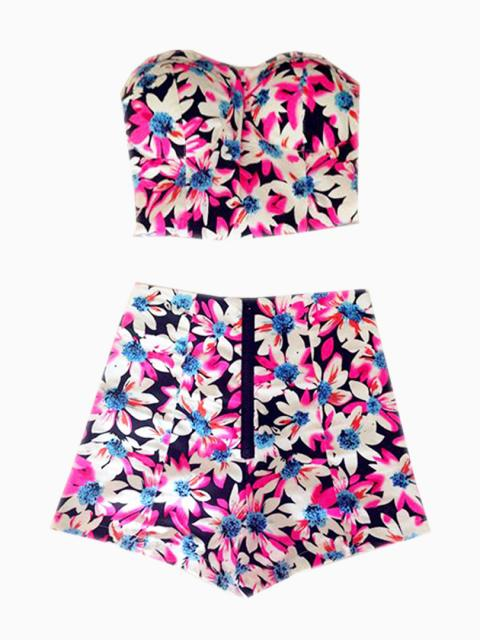 Choies Limited Edition Pink Floral Crop Top With High Waist Shorts | Choies