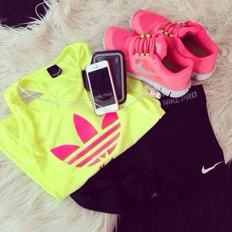 tank top adidas adidas tank top nike neon yellow sports bra sportswear fitness shoes pants pink nike top bag shoes pink shoes pink shinny heels dress