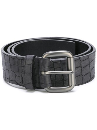 women belt leather black crocodile