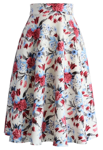 skirt floral wonder airy cotton midi skirt chicwish midi skirt floral skirt airy cotton skirt