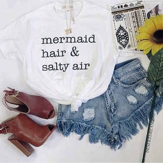 t-shirt mermaid top outfit salty hair boho summer tropical fashion style shoes sea creatures