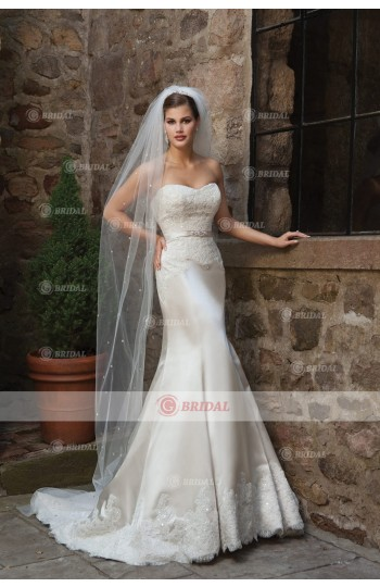 2015 New Arrival Church Wedding Dresses Trumpet/Mermaid Sweetheart Court Train Satin