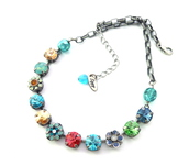 jewels,swarovski necklace,swarovski crystal,rivoli necklace,colorful necklace,shimmering,trendy jewelry,trendy,designer necklace,sparkly crystal,11mm crystal necklace,swarovski,necklace,bright,sparkle,bling,colorful,gifts for her,siggy jewelry,multicolor,siggy necklace