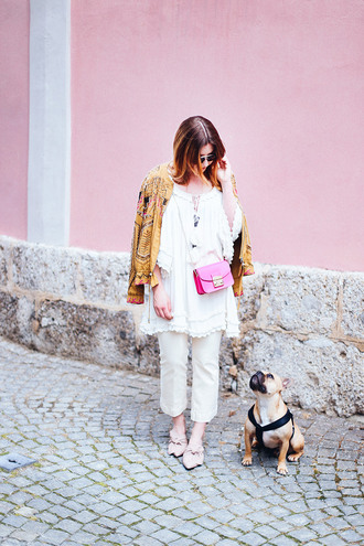 jeans cropped bootcut white jeans white jeans cropped bootcut jeans cropped jeans dress white dress jacket mustard jacket printed jacket bag pink bag spring outfits crossbody bag mules bow shoes