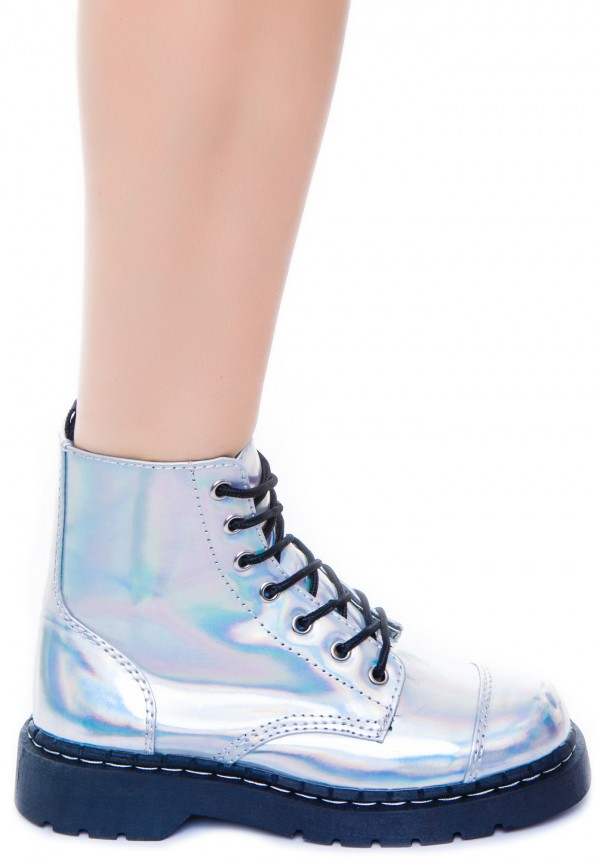 T.U.K. Iridescent 7 Eye Boot | Dolls Kill