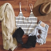 top,on point clothing,coachella,boho,bohemian,cute,indie,summer outfits,summer,festival,event,hipster,vintage,clothes,halter top,stripes,white,black,cream,cream cardigan,cardigan,jewels,necklace,sunglasses,sunnies,felt hat,hat,fedora,shorts,denim,ankle boots,black boots,boots,fringes,date outfit,tumblr,women,gorgeous,fashionista,girl,shoes,tank top