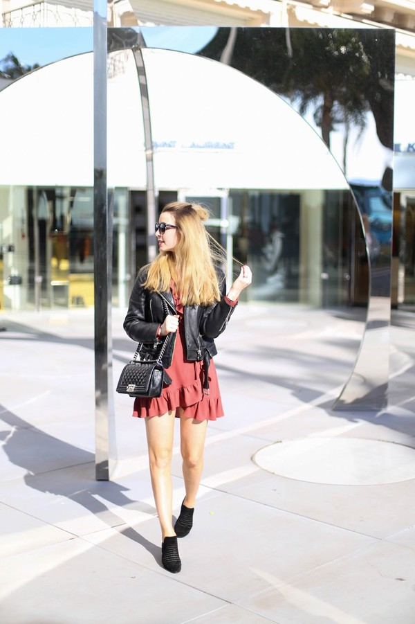 caroline louis pardonmyobsession blogger shoes jacket dress bag black leather jacket chanel bag mini dress booties