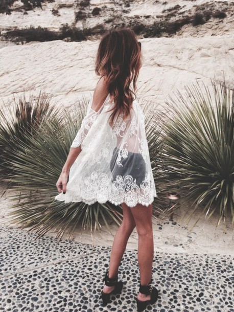 blouse dress black shoes short black top lace boho gypsy hippie fesitval sheer white top shirt white dress sexy vintage bohemian love black and white dress hot&sexy vintage? boho chic cover up see through dress girly dress flowers transparent dress summer dress beach dress