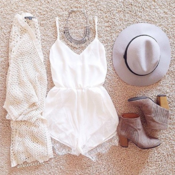hat dress vintage hippie romper cardigan shoes jewels white felt hat white romper jumpsuit top fashion white top style sweater boots white lace romper ankle boots white dress summer spring break cream romper shorts lace romper statement pretty heart neckline top sweetheart neckline bag scarf hair accessory beige cute outfit outfit idea