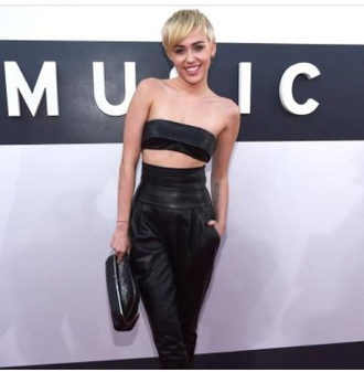 miley cyrus black pants leather pants leather