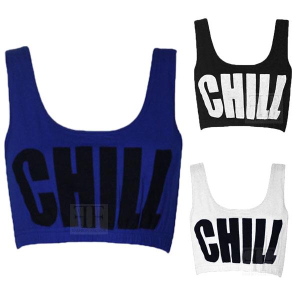 Womens chill text slogan print sports bra ladies crop vest bralet top 8
