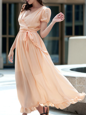 dress flowy fashion peach maxi summer spring girly feminine dressfo