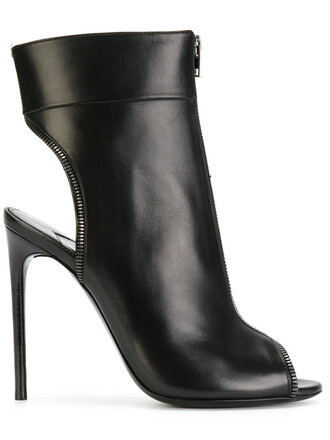 open women booties leather black shoes