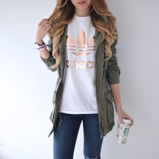 shirt adidas originals adidas rose gold t-shirt jacket coat green grunge  white t- bf940fe683