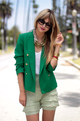 jacket pop culture afternoon green jacket shorts green shorts