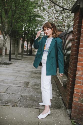 jacket blazer pants white pants green blazer white shoes shoes