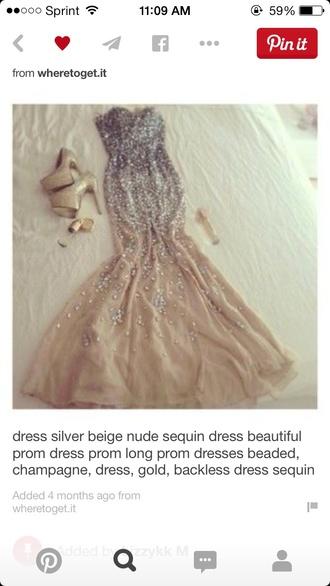 dress beige prom dress long sparkles champagne nude long  prom dressss