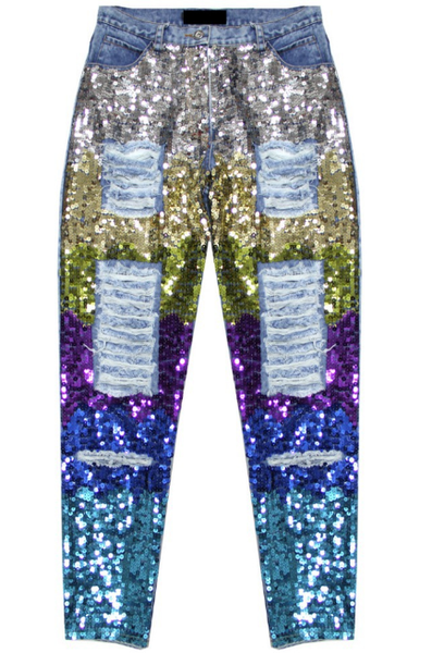 High top sequins jeans glitter degradé colorful tie dye boyfriend pants