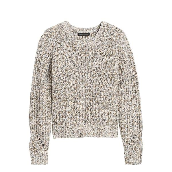 Banana Republic Women's Chunky Pointelle Cropped Sweater Warm White With Mustard Yellow And Black Regular Size S
