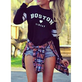 sweater grunge dope boston baseball tee plaid rose wholesale hippie college streetstyle