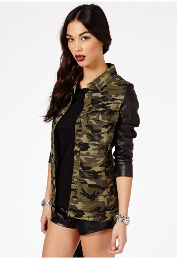 Mayte Camouflage Faux Leather Sleeves Coat - Coats & Jackets - Missguided