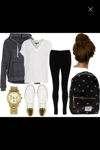 sweater bun school bag bag gold converse gold watch leggings black leggings jeans low rise jeans black jeans t-shirt top white white shirt basic back to school college high school hoodie grey hoodie grey sweater outfit fall outfits school outfit lazy day hair accessory