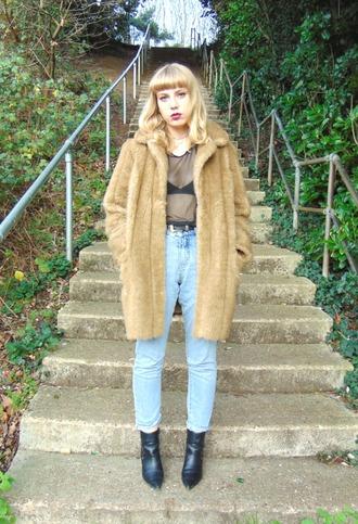 the velvet black grunge blogger coat t-shirt underwear jeans shoes camel fluffy coat