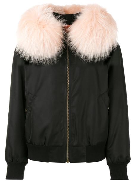 Mr & Mrs Italy - Pink Fur Collar bomber jacket - women - Polyamide/Polyurethane/Polyester/Racoon Fur - M, Black, Polyamide/Polyurethane/Polyester/Racoon Fur