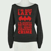 sweater,batman,grey,red,lazy day,red sweater,long sleeves,grey sweater,funny sweater,quote on it
