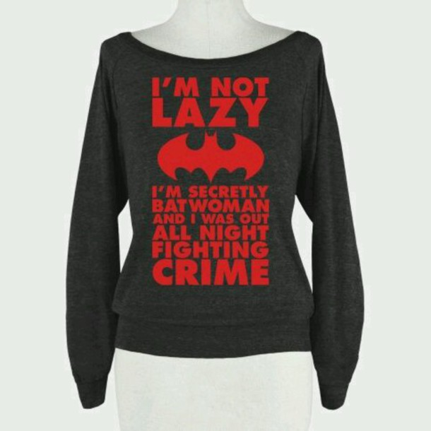 sweater batman grey red lazy day red sweater long sleeves grey sweater funny sweater quote on it