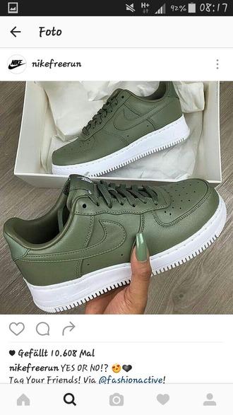 shoes green sneakers nike air force 1 nike low top sneakers