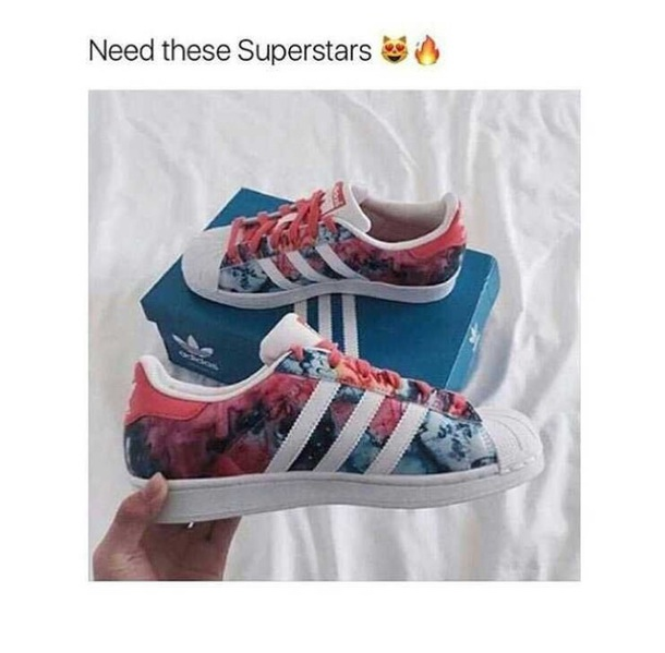 shoes superstar adidas adidas shoes running shoes floral pastel pink blue trainers adidas trainers adidas superstars