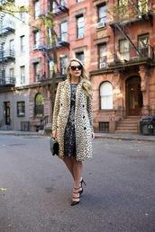 atlantic pacific,blogger,sunglasses,black heels,coat,animal print,dress,bag