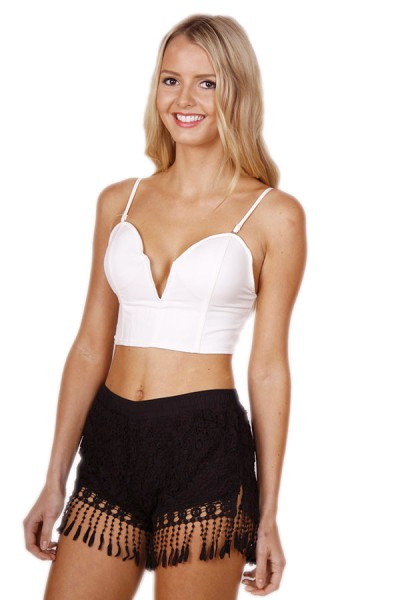 Day & Night Crop- White (Non Leather- Fabric) - Tops & Tanks - Tops