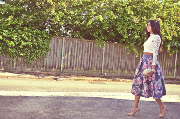 df23f92ab9 skirt, formal, midi skirt, floral, dressy, casual, pleated skirt ...