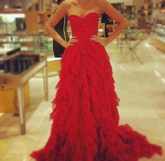 dress beautiful clothes formal dress red dress prom dress formal prom elegant ruffle ball gown dress strapless red sweetheart red gown